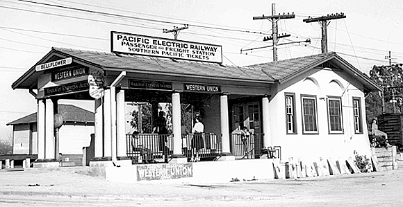 Pacific Electric Railway Depot, Bellflower, 1927